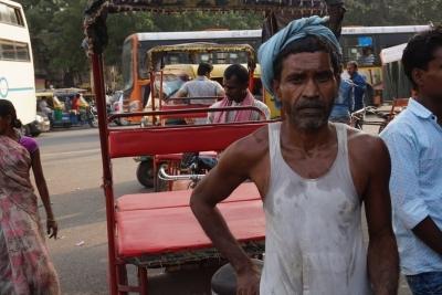 Rickshawförare tar paus