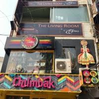 Fasad från Haus Khas Village, lugna gatan i Delhi