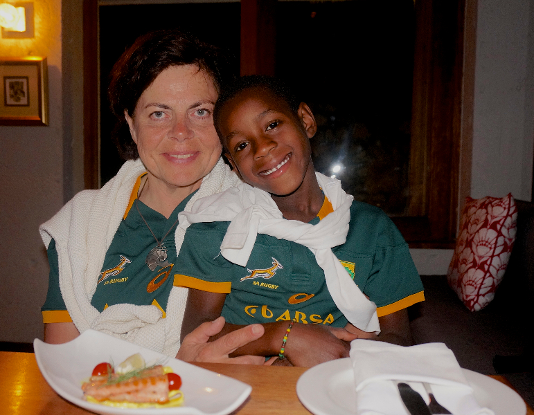 Adam och jag, Springbock- och tapasentusiaster! (I Sydafrika är rugby den stora sporten).